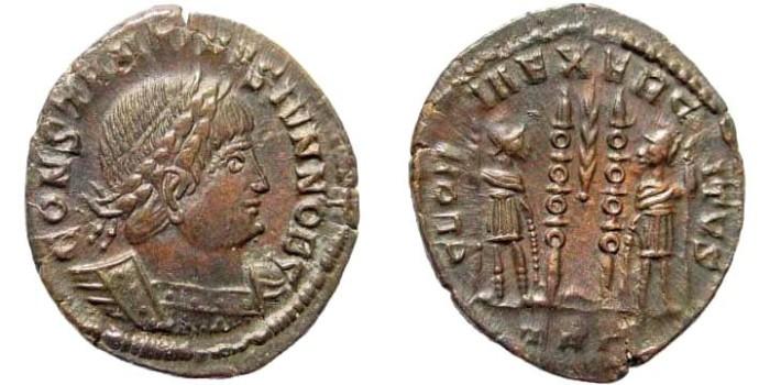 Ancient Coins - Constantine II, as Caesar, 317-337 AD. AE Follis (1.65 gm, 18mm). Trier mint, 333-334 AD. TRP. RIC VII 556
