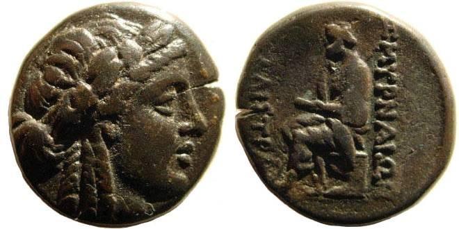 Ancient Coins - Ionia, Smyrna. Circa 145-125 B.C. AE 20mm/ Homereion (8.82 gm). Kallistra, Magistrate. Milne 180