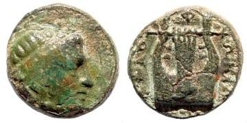 Ancient Coins - Ionia, Kolophon. 350-330 BC. AE 10mm (1.19 gm). SNG Copenhagen-; SNG von Aulock-; SNG Helsinki II-; Klein -