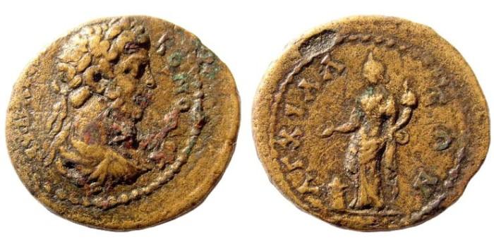 Ancient Coins - Thrace, Anchialus. Commodus, 180-192 AD. AE 21mm (5.30 gm). BMC-; SNG Copenhagen -; Sear-; Lindgren II -