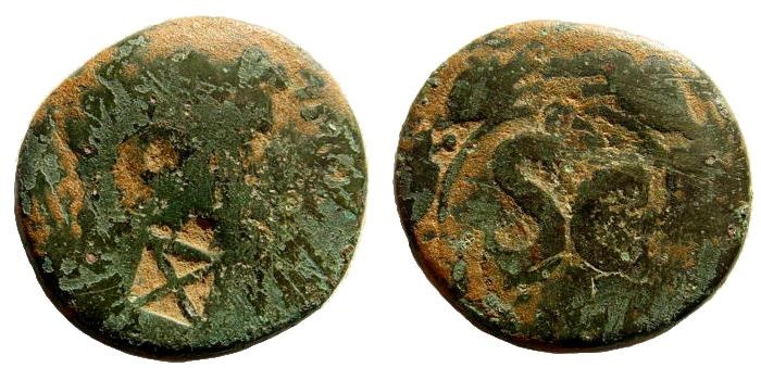 Ancient Coins - 10th Fretensis Roman Legion. Countermark on AE 26mm (12.19 gm) of Tiberius (12.46 gm). Undertype struck in Antioch, 14-37 AD. Hendin 1616