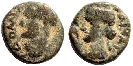 Ancient Coins - Syria, Decapolis. Canatha. Domitian, 81-96AD. AE 12mm (2.10 g). Dated CY 135, 93/4 AD. RPC II 2092