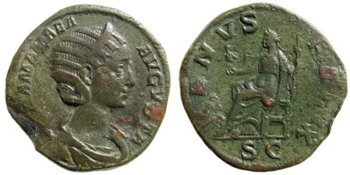 Ancient Coins - Julia Mamaea, mother of Severus Alexander. Augusta, 222-235 AD. AE Sestertius (22.87 gm, 30mm). Struck 224 AD. RIC IV 701
