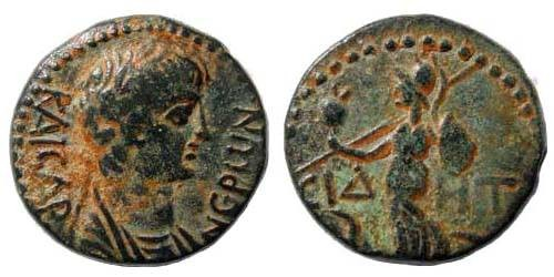 Ancient Coins - Pamphylia, Side, Nero, 54-68 AD. AE 18.1 (4.76 gm.) ca. 55 AD. RPC 3401