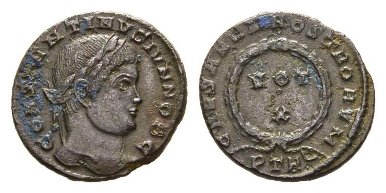 Ancient Coins - Constantine II, as Caesar. 317-337 AD. AE Follis (2.61 gm, 18mm). Treveri (Trier) mint. Struck 323-324 AD. RIC VII 441