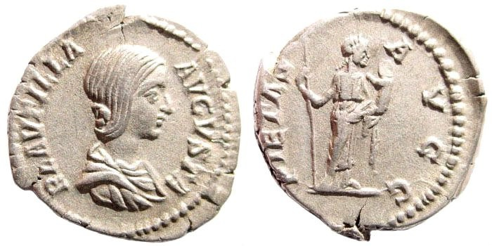 Ancient Coins - Plautilla, wife of Caracalla. AR Denarius (3.4 gm, 19mm). Rome mint, 203 AD. RIC IV 367 (Caracalla); BMCRE 422 (Septimius and Caracalla); RSC 16