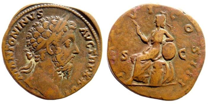 Ancient Coins - Marcus Aurelius, 161-180 AD. AE Sestertius (23.9 gm, 30mm). Rome mint, 172 AD. RIC III 1033