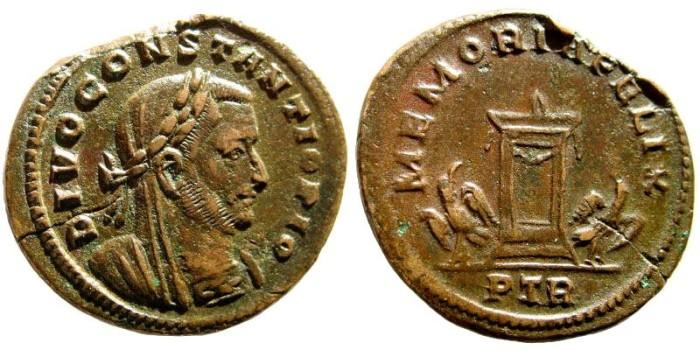 Ancient Coins - Divo Constantius I. Struck, 306-308 AD. AE Follis (6-62 gm). Trier mint. RIC VI 789