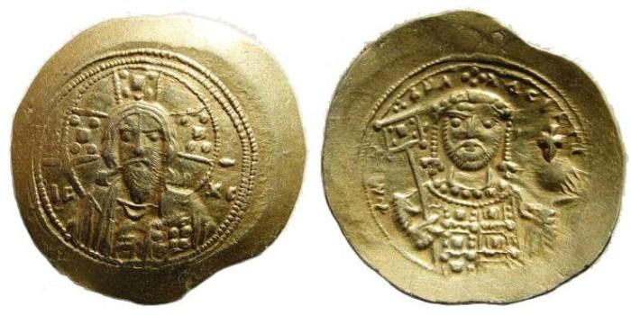 Ancient Coins - Michael VII. 1071-1078. EL Histamenon Nomisma (4.40 gm). Constantinople mint. DOC III 2a var.; SB 1868