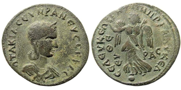 Ancient Coins - Kilikia, Seleukeia. Otacilia Severa, wife of Philip I, 244-249 AD. AE 34mm (14.77 gm). SNG BN Paris 1043