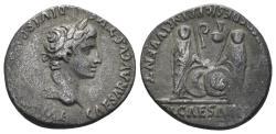 Ancient Coins - Augustus, 27 BC-14 AD. AR Denarius (3.69 gm, 19mm). Lugdunum (Lyon) mint. Struck 2 BC-14 AD. RIC I 207
