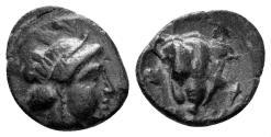 Ancient Coins - Karia, Rhodes. Circa 404-385 BC. AE 11mm (1.02 gm). HGC 6, 1476