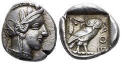 Ancient Coins - Attica, Athens. Circa 454-404 BC. AR Tetradrachm (17.16 gm, 25mm). Kroll 8