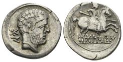 Ancient Coins - Spain, Bolskan (Osca). Circa 150-100 BC. AR Denarius (3.81 gm, 20mm). SNG BM Spain 695