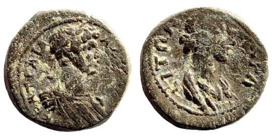 Ancient Coins - Lydia, Nakrasa. Hadrian. 117-138 AD. AE 15mm (2.78 gm). SNG Copenhagen 300; SNG von Aulock 3037