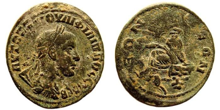 Ancient Coins - Syria, Kommagene. Samosata. Philip II, 244-249 AD. AE 31mm (15.90 gm). BMC Galatia etc. pg. 121, 44; SNG München 409