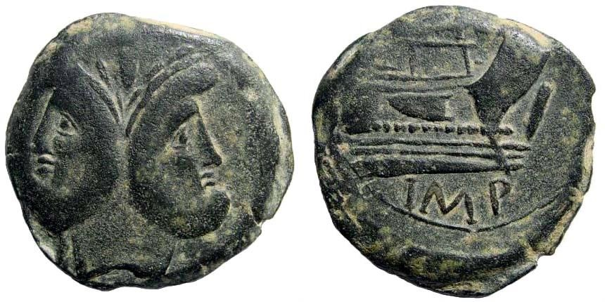 Ancient Coins - Cnaeus Pompeius Magnus (Pompey the Great). 46-45 BC. AE As (24.28 gm, 33mm). Corduba mint. Crawford 471/1
