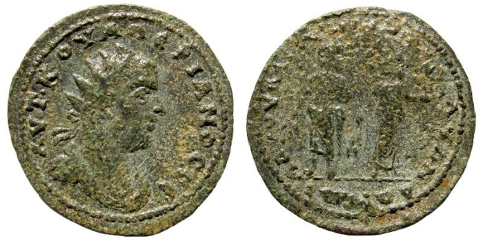 Ancient Coins - Cilicia, Mopsouestia-Mopsos, Valerian I. 253-260 AD. AE 32mm (16.20 gm). Dated year 323, 255-256 AD. SNG Levante 1357 (same dies)