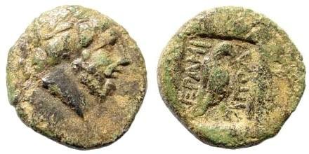 Ancient Coins - Karia, Keramos. Circa 2nd-1st centery BC. AE 13mm (1.46 gm). Magistrate Apol. BMC 2