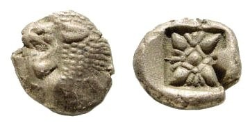 Ancient Coins - Ionia, Miletos. late 6th-early 4th century BC. AR 1/12th Stater (1.18 gm, 10mm). SNG Helsinki II, 264
