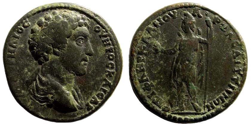 Ancient Coins - Lydia, Saitta. Marcus Aurelius, as Caesar, 139-161 AD. AE 33mm (23.56 gm). SNG von Aulock 3094. Rare