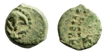 Ancient Coins - Judaea, Hasmonean Kings. Yehohanan Hyrcanus I. 135-104 BCE. AE Lepton (0.86 gm, 11mm). Hendin 458