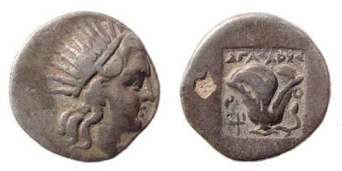 Ancient Coins - Caria, Islands off, Rhodes, ca. 188-170 BC, AR Drachm (2.65 gm.). AΓΑΘΑΡΧΟΣ and trident, SNG Helsinki 629