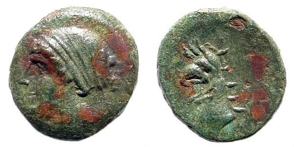 Ancient Coins - Ionia Phokaia. Circa 387-326 BC. AE 11mm (0.84 gm). SNG Copenhagen 1033
