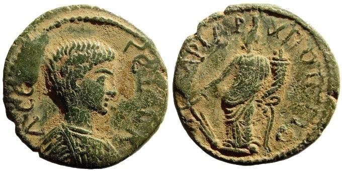 Ancient Coins - Phrygia, Hadrianopolis. Geta Caesar. 198-217 AD. AE 22mm (4.94 gm). SNG Tübingen 4017