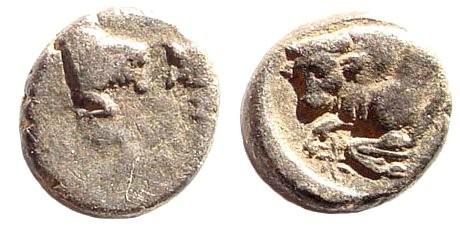 Ancient Coins - Caria Uncertain. Circa 394-387 BC. AR Persic Hemiobol (0.33 gm, 7mm). SNG Helsinki I, 913