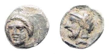 Ancient Coins - Cilicia, Tarsos. Time of Pharnabazos and Datames, Satraps. 379-372 BC. AR Obol (0.68 gm, 9mm). SNG Levante 94