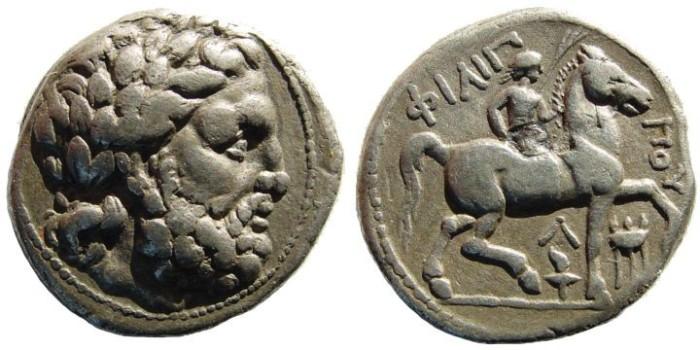 Ancient Coins - Macedonian Kingdom. Philipp II.359 - 336 BC. AR Tetradrachm (14.25 gm, 25mm). Circa. 315 - 295 BC. Amphipolis mint. Le Rider Taf. 47.25