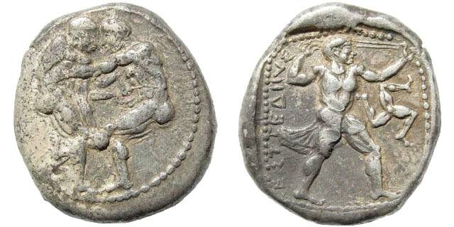 Ancient Coins - Pamphylia, Aspendos. Circa 420-410 BC. AR Stater (10.98 gm, 23mm). BMC 15, Pl. XIX, 13 (same dies). Rare early issue