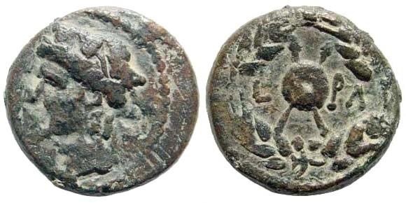 Ancient Coins - Samaria, Nysa-Scythopolis. Autonomous. AE 18mm (6.15 gm). Dated year 130, 66/7 AD. SNG ANS 1046; RPC I 4835