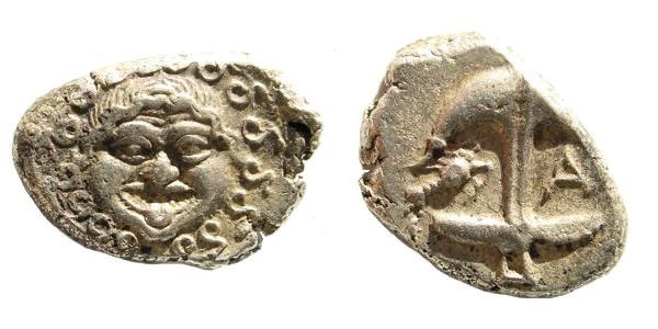 Ancient Coins - Thrace, Apollonia Pontika. Late 5th-4th centuries BC. AR Drachm (3.36 gm, 16mm). SNG BM Black Sea 159