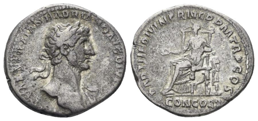 Ancient Coins - Hadrian, 117-138 AD. AR Denarius (3.27 gm, 18mm), Rome mint. Struck 117 AD. RIC II 9