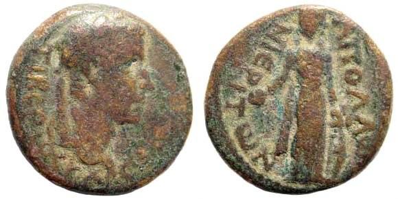 Ancient Coins - Lydia, Apollonoshieron. Tiberius. 14-37 AD. AE 17mm (3.23 gm). RPC I, 3043/3. SNG Copenhagen 31