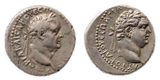 Ancient Coins - Cappadocia, Caesarea. Vespasian and Titus. 69-79 AD. AR Didrachm (6.66 gm). Year 9 (76/7 AD). Metcalf 4; RPC II 1650; Sydenham 102