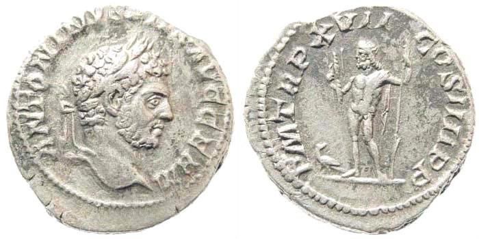 Ancient Coins - Caracalla, 198-217 AD. AR Denarius (3.41 gm, 19mm). Rome mint. Struck 214 AD. RIC IV 240