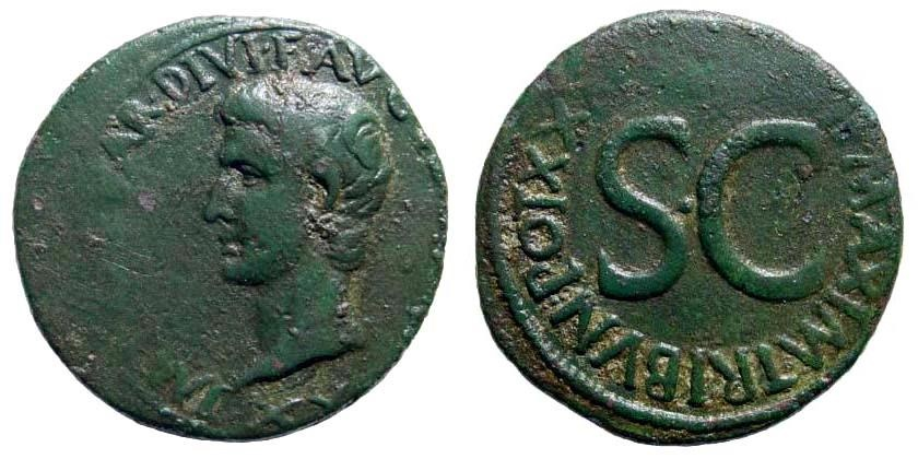 Ancient Coins - Augustus. 27 BC-14 AD. AE As (11.00 gm, 28mm). Rome mint. Struck 11-12 AD. RIC I 471