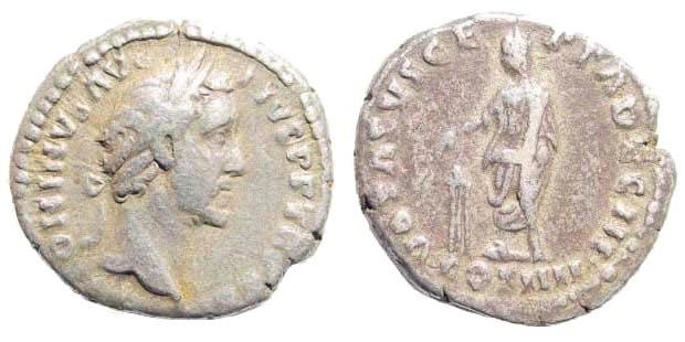 Ancient Coins - Antoninus Pius, 138-161 AD. AR Denarius (2.67 gm, 18mm). Rome mint. Struck 159 AD. RIC III 294b(a)