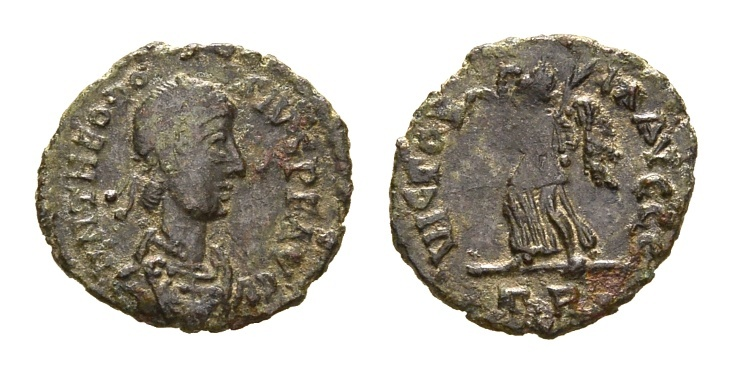 Ancient Coins - Theodosius I. 379-395 AD. AE 14mm (1.06 gm). Treveri (Trier) mint. Struck 388-392 AD. LRBC 163