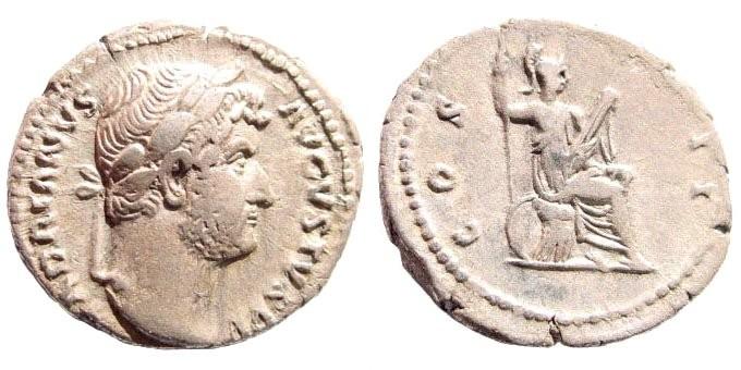 Ancient Coins - Hadrian, 117-138 AD. AR Denarius (3.0 gm, 18mm). Rome mint, 128-129 AD. RIC 332; Cohen 332