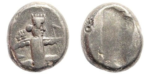 Ancient Coins - Achaemenid Kings. 420-380 BC. AR Siglos (5.52 gm, 15mm).  Bow-Dagger-Serie. Sardeis mint. Carradice Type IV; SNG Kayan 1033