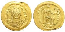 Ancient Coins - Justin II. 565-578. AV Gold Solidus (4.37 gm, 21mm). Constantinople mint. Struck 567-578. Sear 345