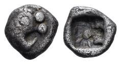 Ancient Coins - Karia, Uncertain. Circa 460-440 BC. AR Hemiobol (0.31 gm, 6mm). Apparently unpublished