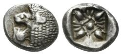 Ancient Coins - Ionia, Miletos. Late 6th- early 4th century BC. AR 1/12th Stater (1.14 gm, 10mm). SNG Helsinki II 277