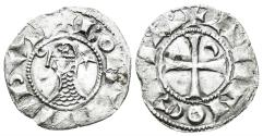 World Coins - Crusaders, Antioch. Bohémond III. 1163-1201. BI Denier (0.76 gm, 18mm). Antioch mint. Metcalf, Crusades 381-2