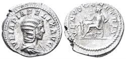 Ancient Coins - Julia Domna. Augusta. 193-217 AD. AR Denarius (3.41 gm, 19mm). Rome mint. Circa 215-217 AD. RIC IV 389b (Caracalla)