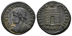 Ancient Coins - Constantine II. As Caesar, 316-337 AD. AE Nummus (3.43 gm, 19.5mm). Antioch mint, 326-327 AD. RIC 65